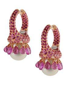 Pink sapphire briolette earrings by Autore. www.pearlautore.com.au