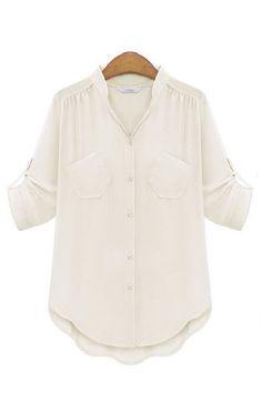 { 2 Colors } Sheer Chiffon Notch Collar Button Down Blouse