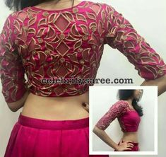 Quarter sleeves blouse designs, cut work blouse, elbow length blouse looks very formal and elegant for any official parties and gatherings. Saree Blouse Neck Designs, Fancy Blouse Designs, Bridal Blouse Designs, Cut Work Blouse, Designer Blouse Patterns, Design Patterns, Stylish Blouse Design, Indiana, Cutwork