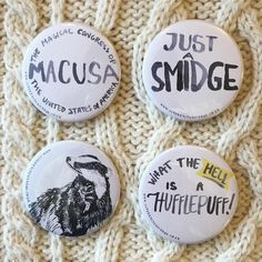 Fantastic!!! Have you seen the new film yet? Rep your Wizarding nerdyness with these new big badges (1.50) online now!!!! (Link in profile) // #artequalshappy #fanmade #fanbadges #aupotter #fantasticbeasts #potter #wizardingworld #hufflepuff #badger #macusa #illvermorny #newt #scamander #newtscamander #fantasticbeastsandwheretofindthem // Potter fan art more by Kim Smith over at http://ift.tt/1SPuuxi Totes badges mirrors postcards etc!