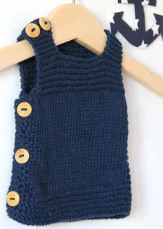 Knitting Baby Dress Models Www. Baby Knitting Patterns, Baby Sweater Knitting Pattern, Knit Vest Pattern, Knitting For Kids, Crochet For Kids, Crochet Baby, Knit Crochet, Knit Baby Dress, Knitted Baby Clothes