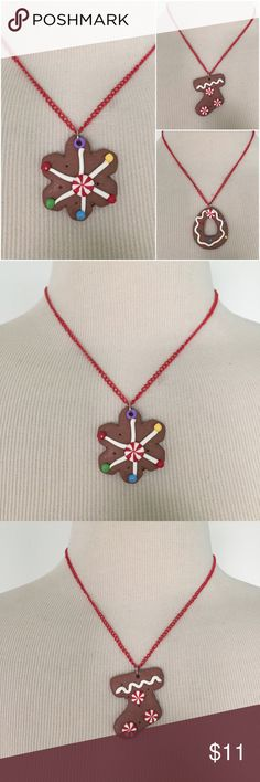 NEW Handmade Gingerbread Christmas Cookie Necklace Upcycled NEW ornaments turned necklaces. Any flaws seen in ornaments are from factory. Gingerbread cookies are made of clay and hang from an 18 inch red chain. Features signature heart clasp backing. Choose between cookie star, stocking, or tear drop. Listing is for ONE necklace; 2 of each available.  Star: 1.75x1.5 Stocking & Tear Drop: 1.75x1.25  #jewelry #christmas #holiday #xmas #kawaii #stockingstuffer #kids #adult #festive #fun…