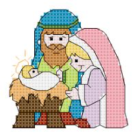 Site is in Spanish. Cross Stitch Christmas Ornaments, Xmas Cross Stitch, Cross Stitch Cards, Christmas Cross, Cross Stitching, Cross Stitch Patterns, Nativity Crafts, Canvas Crafts, Plastic Canvas Patterns