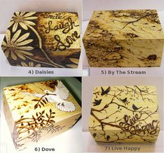 Keepsake Boxes Assortment Hand Drawn & Wood by HelensArtCreations