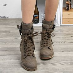 Womens Brown Lace Up Buckle Belts Combat Boots U.S. 6 ~ 8