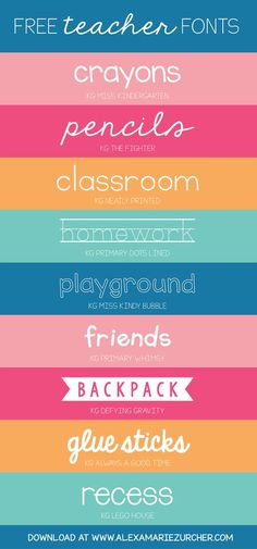 Back to school, back to school! I recently came across a few darling fonts that I think would be PERFECT for teachers. I'm a huge fan of Kimberly Geswein fonts - soooo cute - and the best part about t (Favorite Fonts For Silhouette) Cute Fonts, Fancy Fonts, Teacher Resources, Teacher Fonts Free, Kid Fonts Free, Free School Fonts, Free Cricut Fonts, Free Clipart For Teachers, Best Free Fonts