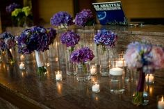 Tablescape  Hydrangea bunches, bouquets, floating candles // purple wedding, centerpiece  Sweetchic Events, Chicago Wedding Planner, Chicago Wedding, Cafe Brauer Wedding