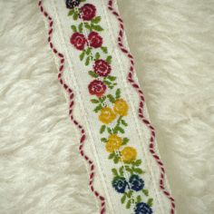 2 YARDS, Vintage 1950s, Woven Embroidered Sewing Trim, Red Blue Yellow Flowers on White, 1 Inch Wide, L153 by DartingDogCrafts on Etsy