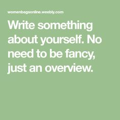 Write something about yourself. No need to be fancy, just an overview.
