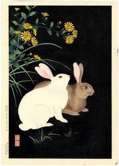 Nishimura Hodo Japanese Woodblock Print Rabbits at Night 1938   eBay