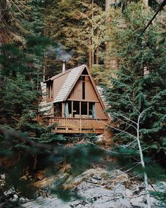 a-frame cabin in the woods