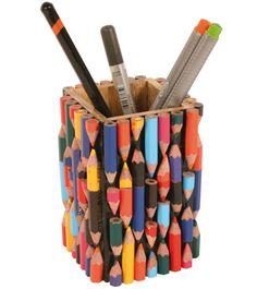 Recycled Crayons Pen & Pencil Pot Holder for the Desktop Handmade Stationery Diy Crafts Hacks, Diy Home Crafts, Craft Stick Crafts, Creative Crafts, New Crafts, Creative Things, Creative Ideas, Diys, Pencil Crafts