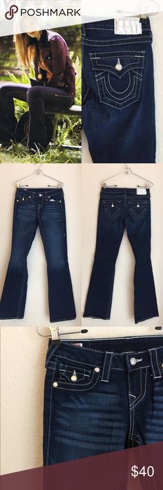 """True religion crystal flap pocket price firm True religion flap pocket size 26 flap pocket crystal buttons inseam 32"""" $220 looks new worn only 2 times True Religion Jeans Boot Cut"""