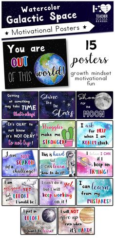 Growth Mindset and motivational posters to create a more positive learning attitude!  In a stunning galactic space theme.   In this pack, you will get:   ✮ 15 pages of posters in color (PDF format) #growthmindset #posters