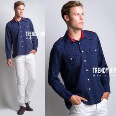 Men's Vintage shirt Men's 70s shirt Men's shirt Men's blue shirt Swiss dot top Men's top - L