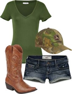 love this outfit! but it wouldnt be a john deere hat Country Girl Outfits, Country Girl Style, Country Fashion, Cowgirl Outfits, Cowgirl Style, Country Girls, Cowgirl Clothing, Gypsy Cowgirl, Cowgirl Fashion
