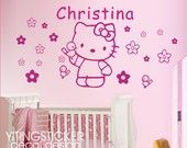 hello kitty wall decal-larger wall sticker art deco 39.3 inch-Baby Nursery Decor. $20.99, via Etsy.