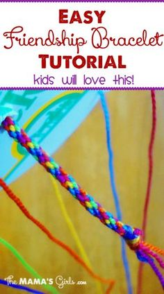 """Easy Friendship Bracelet Tutorial - The kids will love to make these! The """"loom' is made from a sour cream container lid!"""