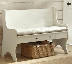 Family Storage Bench (church pew) from Pottery Barn Entryway Storage, Entryway Furniture, Furniture Upholstery, Home Furniture, Barn Storage, Entryway Tables, Storage Benches, Furniture Refinishing, Storage Bins