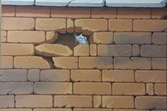 Arte sui muri, trompe l'oeil murals with mouse