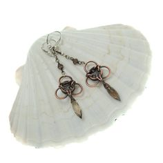 Dangle copper chainmaille earings oxidized jewelry smoky by Verha, $35.00