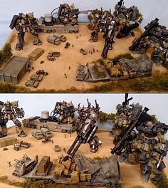 Beautiful 1/144 Gunpla Diorama: 砂漠の駐屯地 Work by ZENO. PHOTO REVIEW http://www.gunjap.net/site/?p=250448