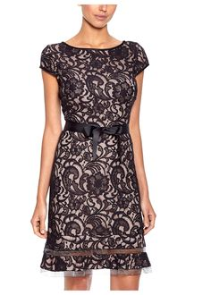 S.L. Fashions Black/Blush Lace Fit-and-Flare Cocktail Dress - on #sale 62% off @ #Ideel  #S.L.Fashions