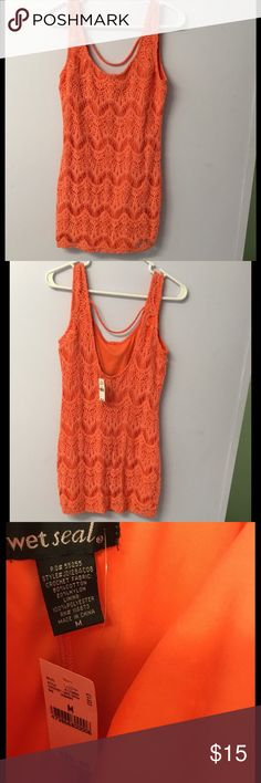 Gastby style dress medium  NWT Super cute this dress is adorable!!!! Too big for me :( NWT coral/orangish color it reminds me of the great gatsby movie  such a cute dress! Wet Seal Dresses Mini