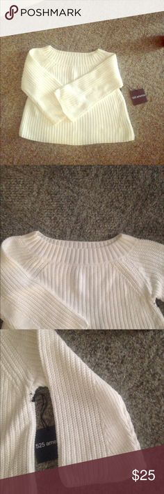 525 America white sweater, Sz lg.  NWT 525 America white sweater, Sz lg.  NWT nice quality cable knit sweater that hits at waist or just below.  3/4 bell type sleeves 525 american Sweaters