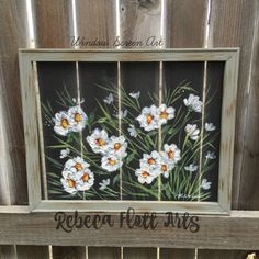 Orange Gerbera daisy, flower on window screen ,porch decor, rustic decor - Blumen Window Screen Crafts, Painted Window Screens, Old Window Screens, Window Art, Window Picture, Picture Frames, Gerbera, Rustic Art, Outdoor Art