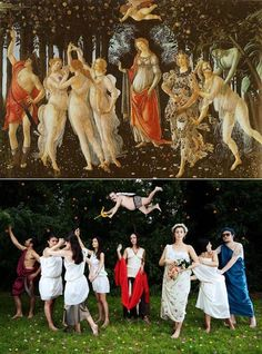 """""""Primavera"""" by Sandro Botticelli Tableaux Vivants, Appropriation Art, Acid Art, Famous Artwork, Renaissance Paintings, Popular Art, Fashion Painting, Classical Art, Funny Art"""