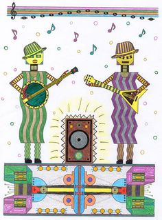 Introducing the Contra Twins... they are the performers in my Robot Fashion Show coloring book.