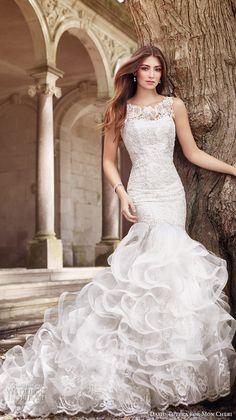 david tutera mc spring 2017 bridal sleeveless illusion boat neckline heavily embellished bodice layered ruffled skirt mermaid wedding dress lace back chapel train (117269) mv