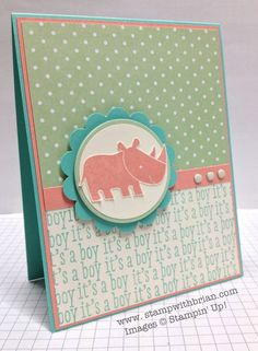 Zoo Babies, A Dozen Thoughts, Stampin' Up!, Brian King *Love the color combo for a baby card! SU Costal Cabana, Crisp Cantaloupe, & Pistachio Pudding