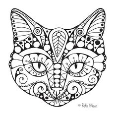Free cat coloring page: