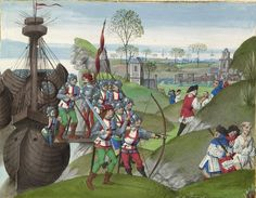 "Master of the Getty Froissart  Bruges, ""The English Besieging La Rochelle"", Belgium, 1480-1483 c.; leaf: 48 x 35 cm (18 7/8 x 13 3/4 in.). J. Paul Getty Museum, Los Angeles"
