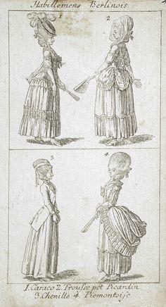 Habillemens Berlinois fashion plate etching c. 18th Century Dress, 18th Century Clothing, 18th Century Fashion, Historical Costume, Historical Clothing, Rococo Fashion, Fashion Painting, Types Of Dresses, Fashion Plates
