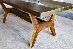 Image result for live edge table with glass center