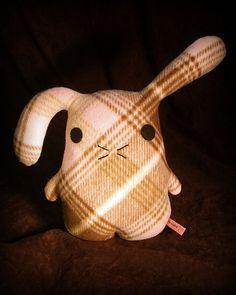 Bunny stuffed rabbit in pink brown plaid fleece stuffed by Musers, $22.00