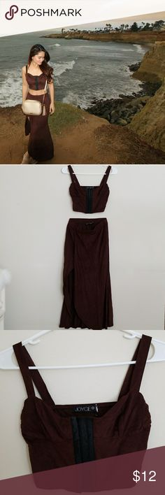 Faux Suede Two Piece Set Dress Super sexy dress! The length of the skirt runs pretty small!!!! (32 inches) Dresses