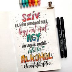 Bea Királyfalvi Hand Lettering (@betuk_es_pont) • Instagram-fényképek és -videók Hand Lettering, Bullet Journal, Instagram, Alcohol, Handwriting, Calligraphy, Hand Drawn Type, Hand Type, Penmanship