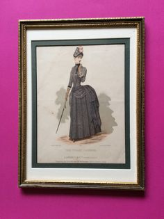 Journal des demoiselles Brussels Amsterdam edition, Desterbecq publishers,rare fashion print handcolored, 19th century Victorian dress