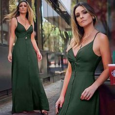 Glam Dresses, Chic Dress, Green Dress, Casual Looks, Spring Outfits, Casual Wear, Party Dress, Cute Outfits, Glamour