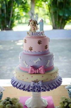 Puppy Birthday Parties, 1st Birthday Themes, 1st Birthday Cakes, Puppy Party, Girl First Birthday, Dog Birthday, Torta Paw Patrol, Puppy Dog Cakes, Girl Cakes