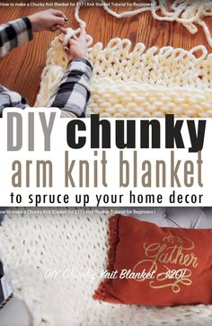 How to make DIY chunky knit blanket (arm knit or finger knit) - Craft-Mart : Ho. How to make DIY chunky knit blanket (arm knit or finger knit) – Craft-Mart : How to make a Chunky Finger Knitting Blankets, Arm Knitting Yarn, Bamboo Knitting Needles, Knitting Blogs, Easy Knitting, Knitting For Beginners, Knitted Blankets, Thick Blankets, Knitting Ideas