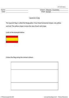 Colour the Spanish flag correctly.