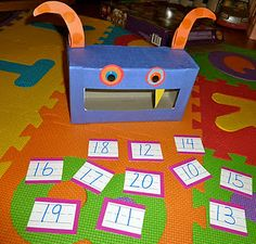 feed the monster game with numbers; could do with letters, too.