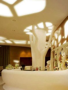 Interiors for Luxury Hotel in Nizza, France. The concept, that gives life to the project, is a contemporary interpretation of the lines from the Belle Époque style. Designed by Iosa Ghini associated. Shell House, Architectural Columns, Design Museum, Exhibit Design, Environmental Design, Ceiling Design, Beautiful Interiors, Art And Architecture, Best Hotels