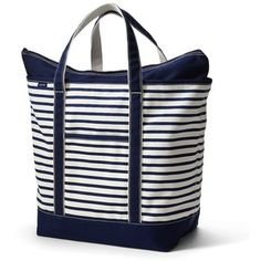 Lands' End extra Large navy Print Zip Top Canvas Tote Bag with Kelley green M