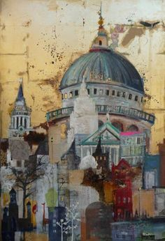 London Layers by Emmie van Biervliet - Mixed media on board 32 x 49ins | Magic realism is an integral part of her paintings. These are formed not only through the use of paint but often using layers of paper, coffee, gold leaf, old circuit boards, spices, newspaper cuttings and materials collected during her travels.